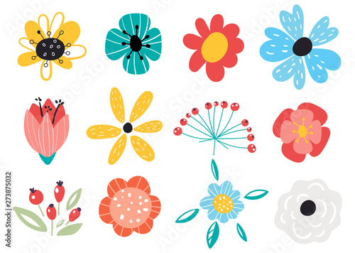 Obraz Set of decorative floral design elements. Flat cartoon vector illustration. Illustration of nature flower spring and summer in garden. - fototapety do salonu