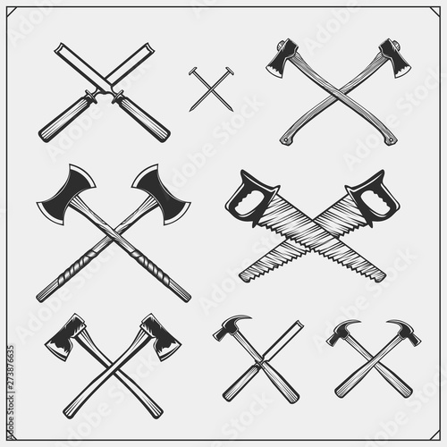 Set Of Woodworking And Carpentry Wood Work Tools Black And White