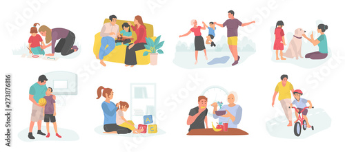 Obraz Family spending time with child vector, mother and father with kid teaching how to ride bicycle and care for pet dog, isolated parents and son kiddo - fototapety do salonu
