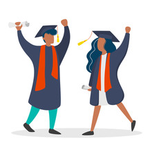 Couple In Graduation Gown And Hat. Girl And Boy Graduate