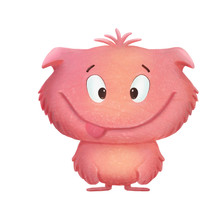 Pink Cute Cartoon Funny Monster On The White Background
