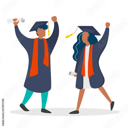 Fényképezés  Couple in graduation gown and hat. Girl and boy graduate
