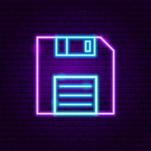 Floppy Disk Neon Label