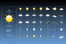 Set Weather Icons. All Icons For Weather With Sample Of Use. Vector, Eps 10