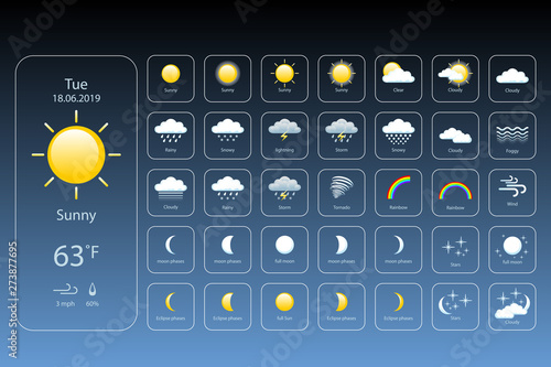 Fototapeta set weather icons. All icons for weather with sample of use. vector, eps 10 obraz