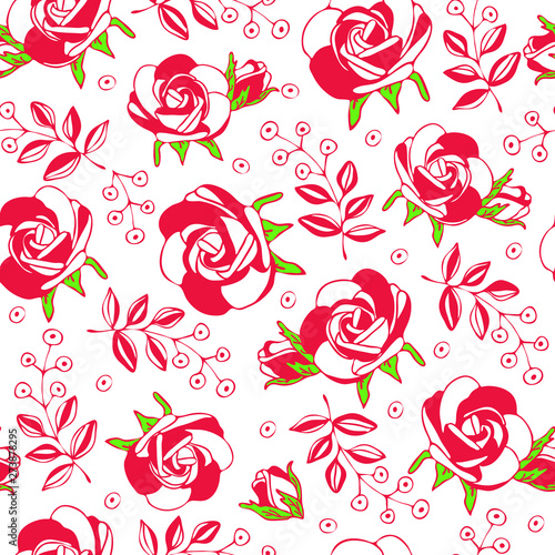 Seamless roses pattern.Romantic background.