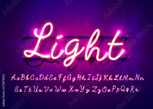 Obraz Neon tube hand drawn alphabet font. Script type letters on a dark background. Vector typeface for labels, titles or posters. - fototapety do salonu