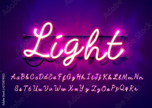 Foto Neon tube hand drawn alphabet font