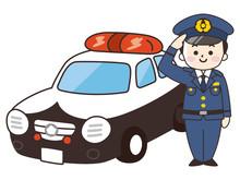 男性警察官とパトカー