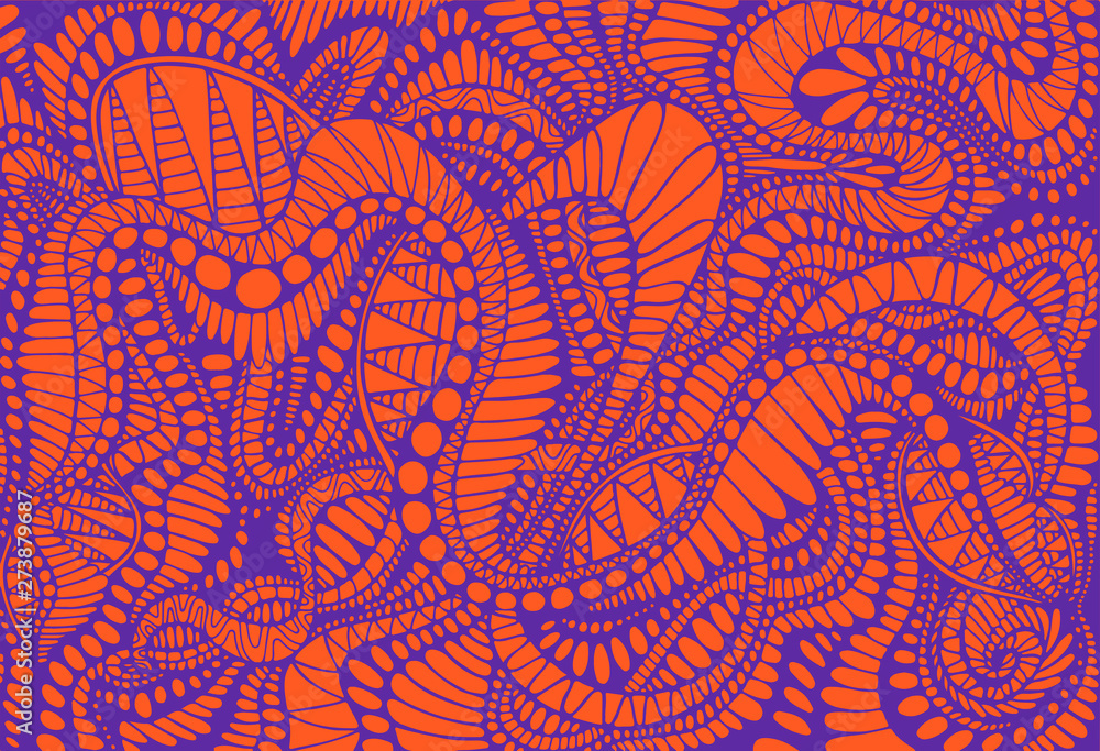 Photo Abstract pattern, ethno style, stylish background, purple color line, isolated on orange background