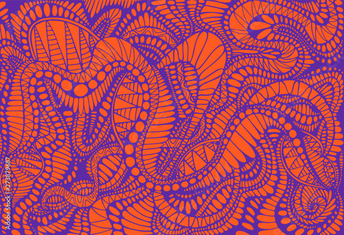 Fotografiet Abstract pattern, ethno style, stylish background, purple color line, isolated on orange background