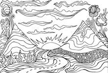 Creative Coloring Page Fantasy With A Mountain Landscape,clouds,sun And The Road Leading Into The Sunset. Cartoon Doodle Style.