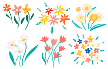 Hand Drawn Colorful Blooming F...