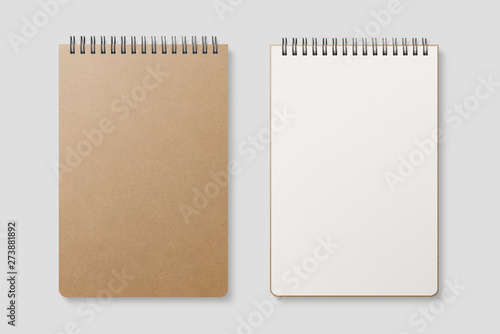 Blank realistic spiral bound notepad mockup with Kraft Paper cover on light grey background Canvas Print