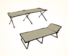 Camp Bed. Vector Drawing