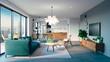 Leinwanddruck Bild - 3d beautiful interior living room render