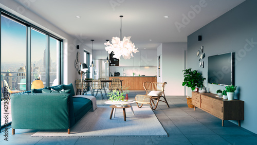 Photo 3d beautiful interior living room render