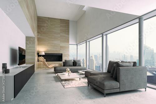Fotografie, Obraz  3d beautiful interior living room render