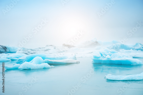 Blue icebergs in Jokulsarlon glacial lagoon, southern Iceland. Famous travel destination
