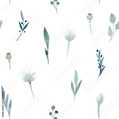 Seamless Pattern. Hand drawn watercolor Poppy flowered anemone. Hand drawn illustration. - 273889834