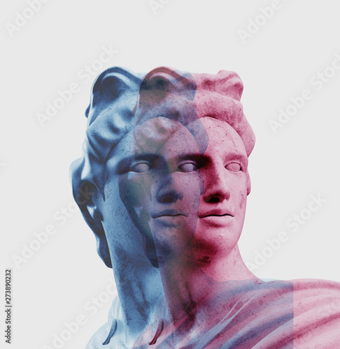 Apollo style design background vaporwave concept. 3d Rendering.