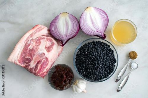 Cuadros en Lienzo  Pork and Black Bean Soup Ingredients