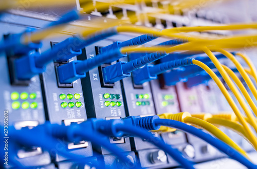 Obraz fiber network cable connecting on network core switch close up - fototapety do salonu