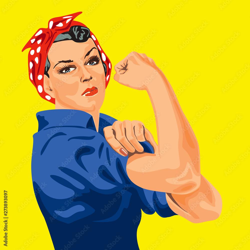 Fototapety, obrazy: Symbole du féminisme, une femme retrousse les manches de sa chemise pour se mettre au travail et apporter sa contribution à l'effort national. We can do it.
