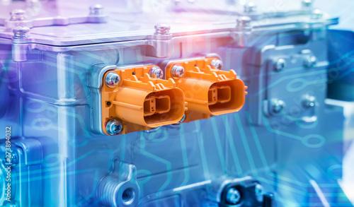 Foto  electric system of eco car engine Automotive part concept