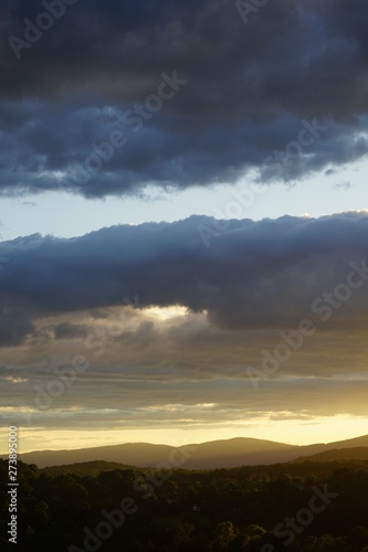 Sunset with Clouds over the Blue Ridge Mountains