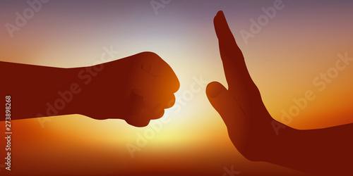 Fotografia Concept de l'opposition entre l'attaque et la défense symbolisé par deux mains