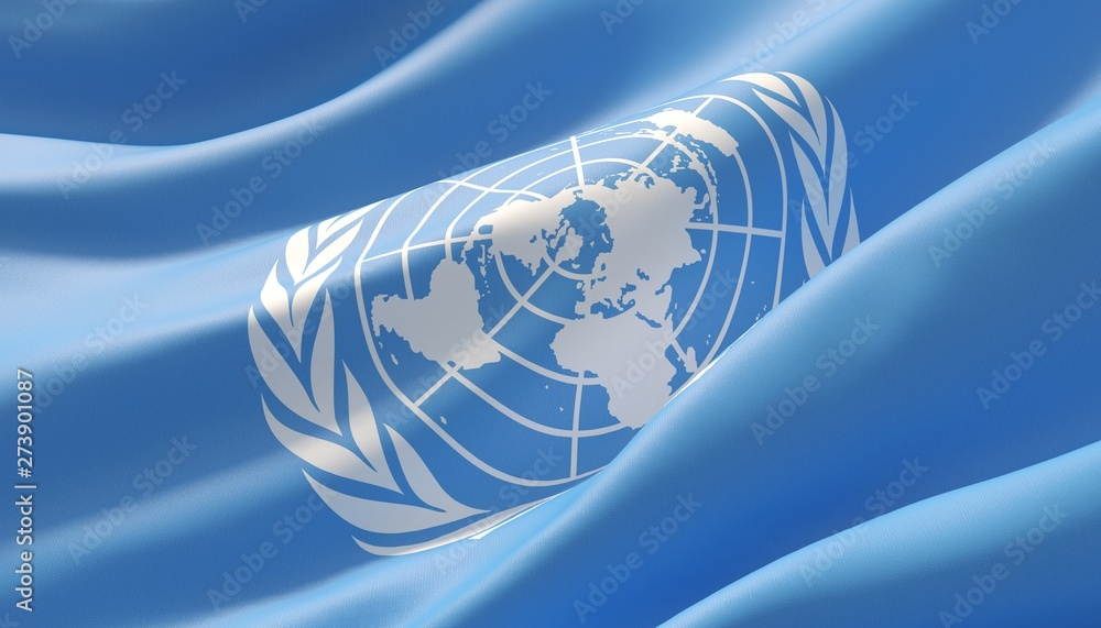 Fototapety, obrazy: Waved highly detailed close-up flag of United Nations. 3D illustration.