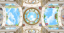 Arched Dome With Sky, Baroque Columns, Renaissance, Ceiling, Fresco