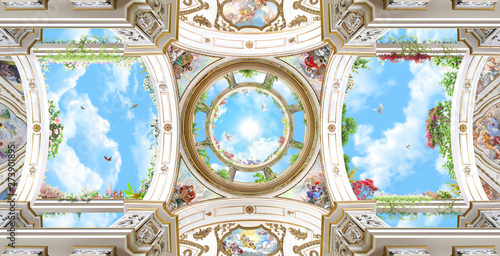 Fototapety na sufit   arched-dome-with-sky-baroque-columns-renaissance-ceiling-fresco