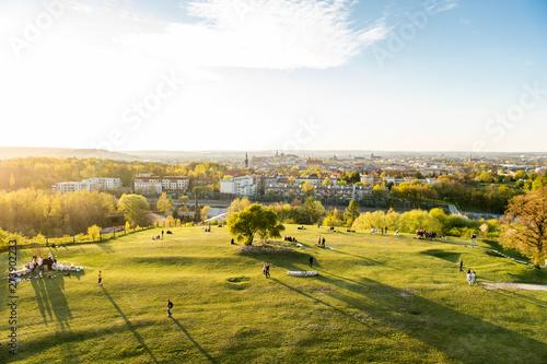 Fototapeta Krakow, Poland - April 26, 2019: View from the oldest mound in Krakow - Krakus mound (Kopiec Kraka) obraz