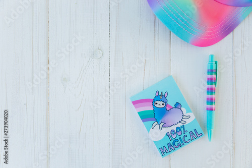 Notebook with llama unicorn and rainbow with colorful gel pen and rainbow cap on white wooden background. Idea of Girly Desk table