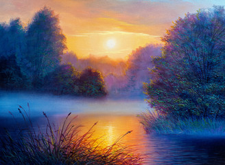 Fototapeta Do sypialni Morning landscape with tree and river. Oil painting forest landscape.