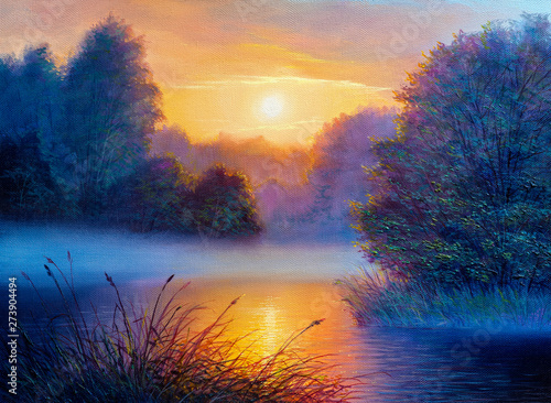 Foto op Canvas Nachtblauw Morning landscape with tree and river. Oil painting forest landscape.