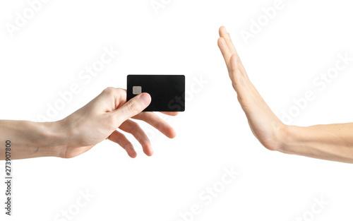 Fotografija  No bank card, hand gesture