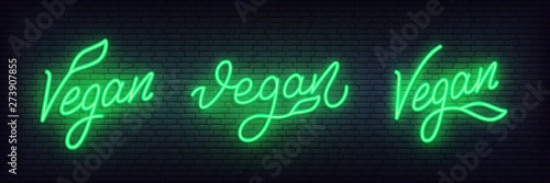 Tablou Canvas Vegan neon set. Glowing lettering Vegan sign template.