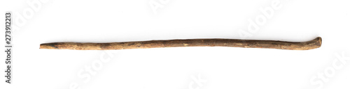 Foto magic stick, wooden walking stick isolated on white background