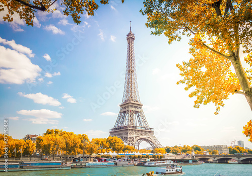 Garden Poster Paris eiffel tour over Seine river