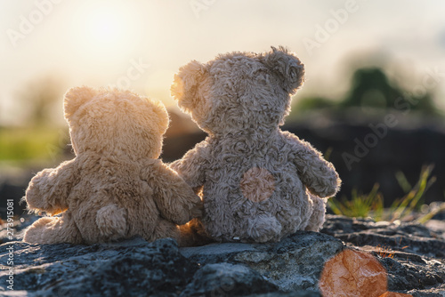 mata magnetyczna Two teddy bear toys sitting on a stone and holding hands with sunset light, rear view. Love theme. Greeting or gift card design idea.