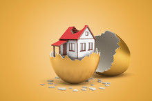 3d Rendering Of White Private House With Broken Roof Hatching Out Of Golden Egg On Yellow Background