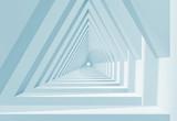Fototapeta Perspektywa 3d - 3d white triangle shaped tunnel