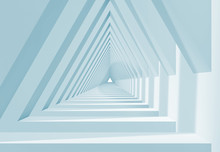 3d White Triangle Shaped Tunnel