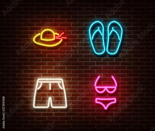 Neon hat, flip flop, shorts, swimsuit signs vector