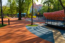 Empty Modern Children Playground. Dnipro City. Ukraine