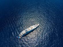 Spain, Majorca, Costa De La Calma, View To A Luxury Yacht, Aerial View