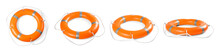 Set Of Orange Lifebuoy Rings On White Background